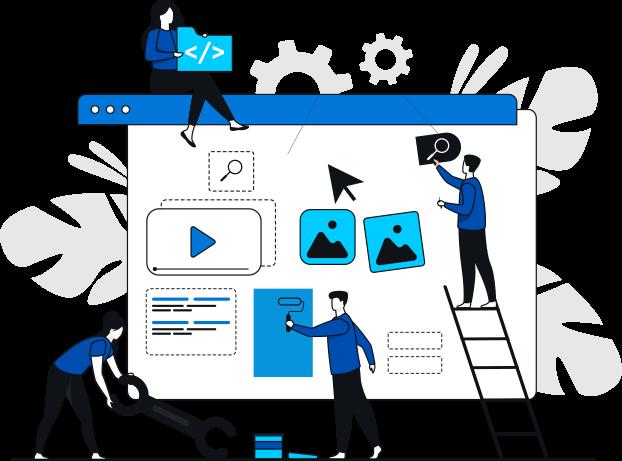 Illustration representing a team of digital marketing professionals at work